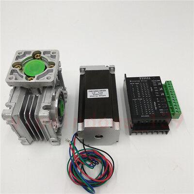 Nema23 3NM Stepper Motor Driver Kit 4.2A & Worm Gearbox Speed Reducer 30:1 CNC 10