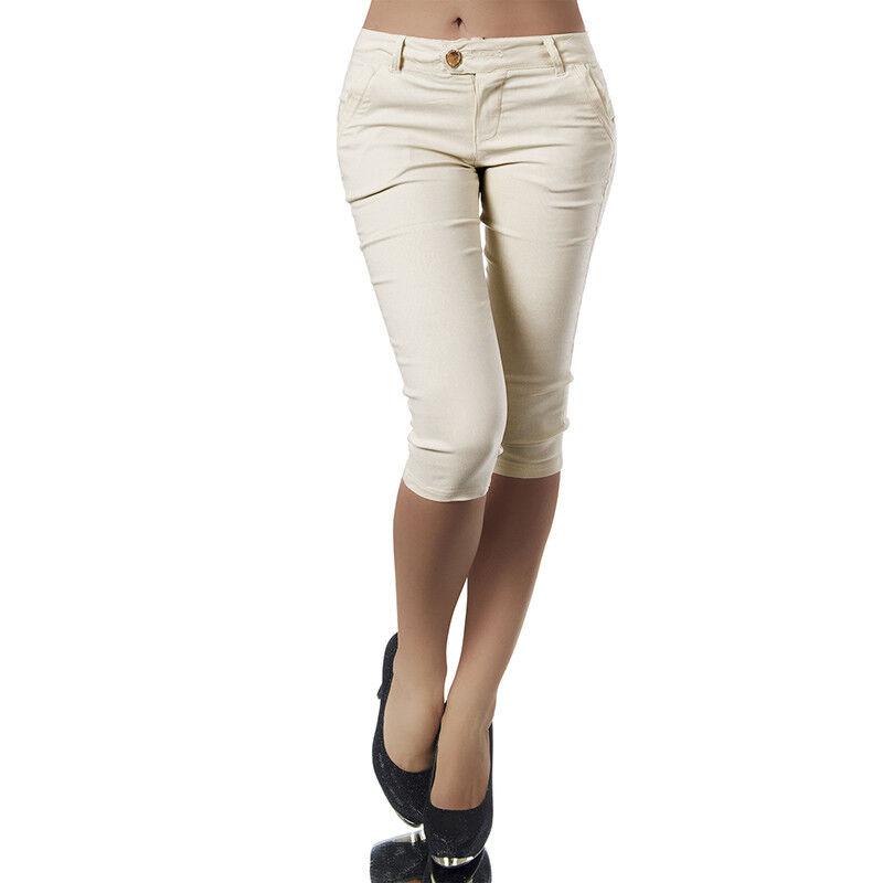df3ec48bc19cc Ladies Cropped Trousers Womens 3 4 Three Quarter Elasticated Capri Crop  Pants 9 9 of 10 See More
