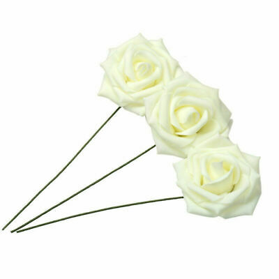 7CM Artificial Flowers With Stem Foam Rose Fake Flower Wedding Party Bouquet UK