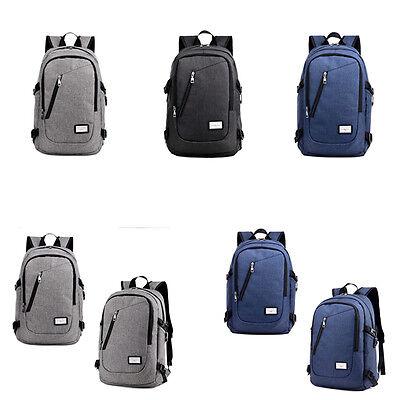 Mochila antirrobo USB cargador portátil viaje escolar bolsa azul gris negro BC