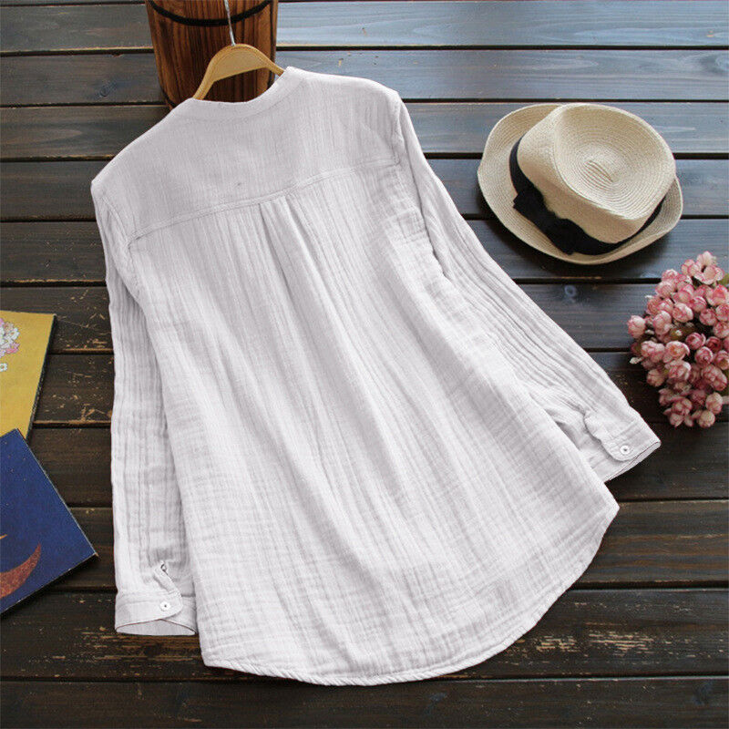 Womens V Neck Baggy Loose Cotton Tops T Shirt Plus Size Long Sleeve Tunic Blouse 6