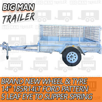 7x4 hot dip galvanised box trailer fully weld removable 600mm cage single tipper 7