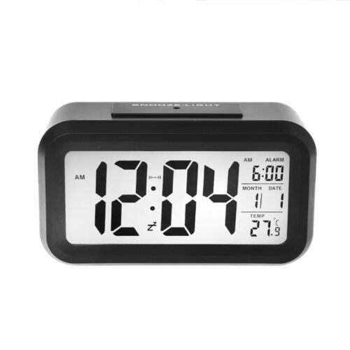 Digital Snooze Alarm Clock Backlight LED Table Clock Time Temperature Calendar