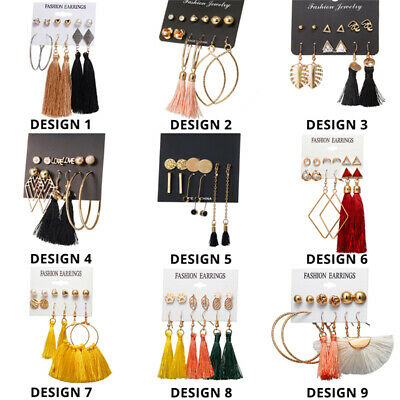 15Pairs Korean Style Earrings Set Tassel Crystal Ear Stud Dangle Hook Chic Women 5