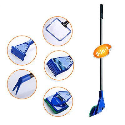 5in1 Cleaning Tools Kit Set Fish Tank Aquarium Algae Scrubber Scraper Glass New 6