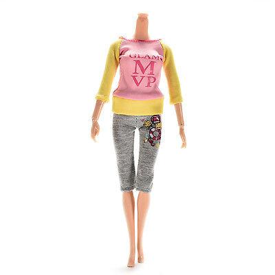 2 Pcs/set Fashion Dolls Clothes for  Dress Pants with Magic Pasting  BDAU