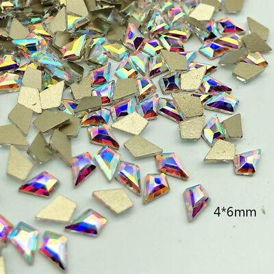 20 50 100pcs 3D Nail Art Rhinestones Flat Shaped Elongated Glass Colorful Stones 8