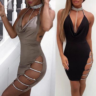 6 sur 11 Sexy Femme Bandage Robe de soirée moulante strass encolure en V  robe de cocktail 83401c07edd9