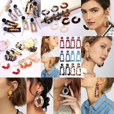 HOT Acrylic Statement Tortoise Shell Earrings Fashion Hoop Resin Dangle Earrings 10