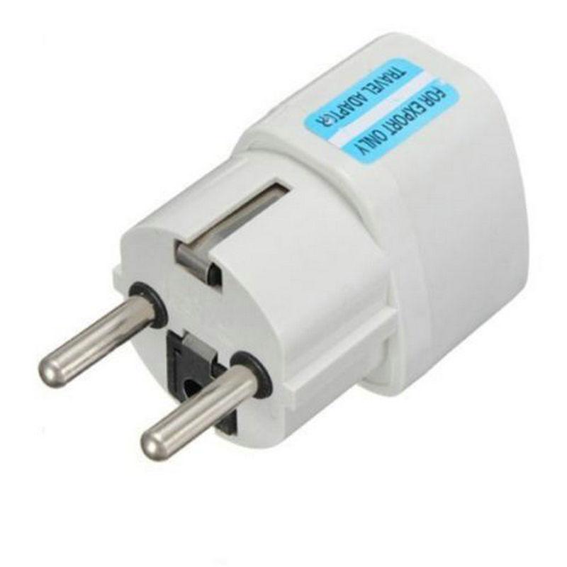 Portable UK US AU to EU European Power Socket Plug Adapter Travel Converter 3