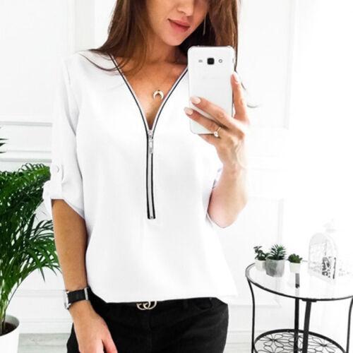7162c894 Women Office V Neck Loose Baggy Shirt Long Sleeve Blouse Zip T-shirt Work  Top 6 6 of 11 ...