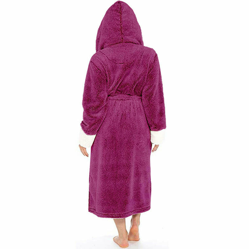 Women Dressing Gown Hoodie Nightwear Fluffy Soft Warm Winter Hooded Bath Robe 8