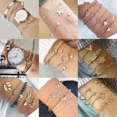 Fashion Women Jewelry Set Stainless Steel Lots Style Cuff Bracelet Bangle Chain 2