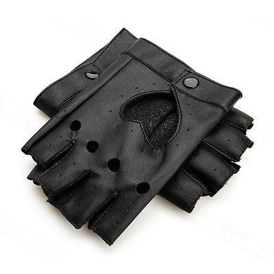 Women Punk Leather Driving Biker Fingerless Mittens Dance Motorcycle Gloves V_MR 8