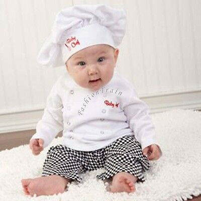 64eab672067a0 ... Baby Boy Girl Cook Chef Carnival Party Costume Top+Pants+Hat Fancy  Dress Outfits
