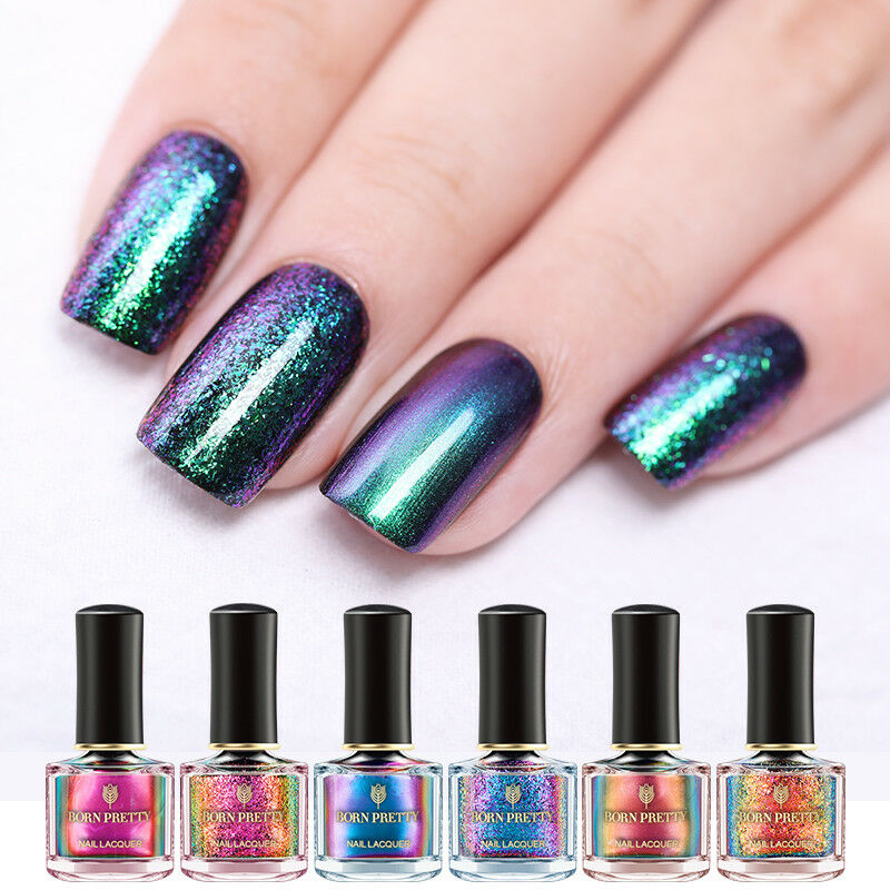 BORN PRETTY 6ml Magic Nail Polish Chameleon Glitter Holographic Nail Art Varnish 2