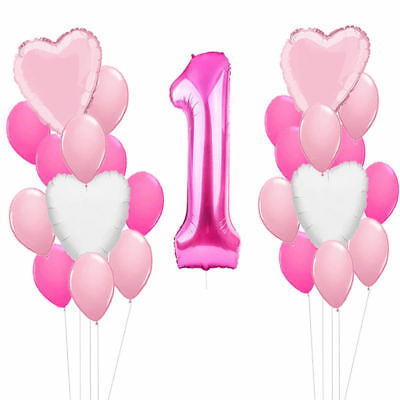 Happy 1st Birthday Party Foil Balloons First Number 1 Baby Boy Girl Rose Gold 5
