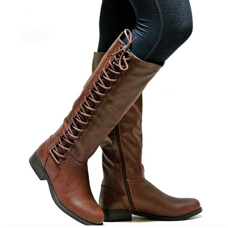 931920d5023e Womens Knee High Boots Ladies Flat Side Lace Up Motorcycle Riding Shoes  Size US 4 4 of 5 See More