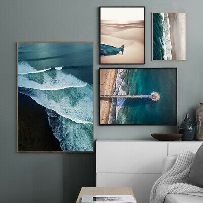 Ocean Waves Beach Poster Seascape Canvas Wall Print Nordic Decoration Picture 2