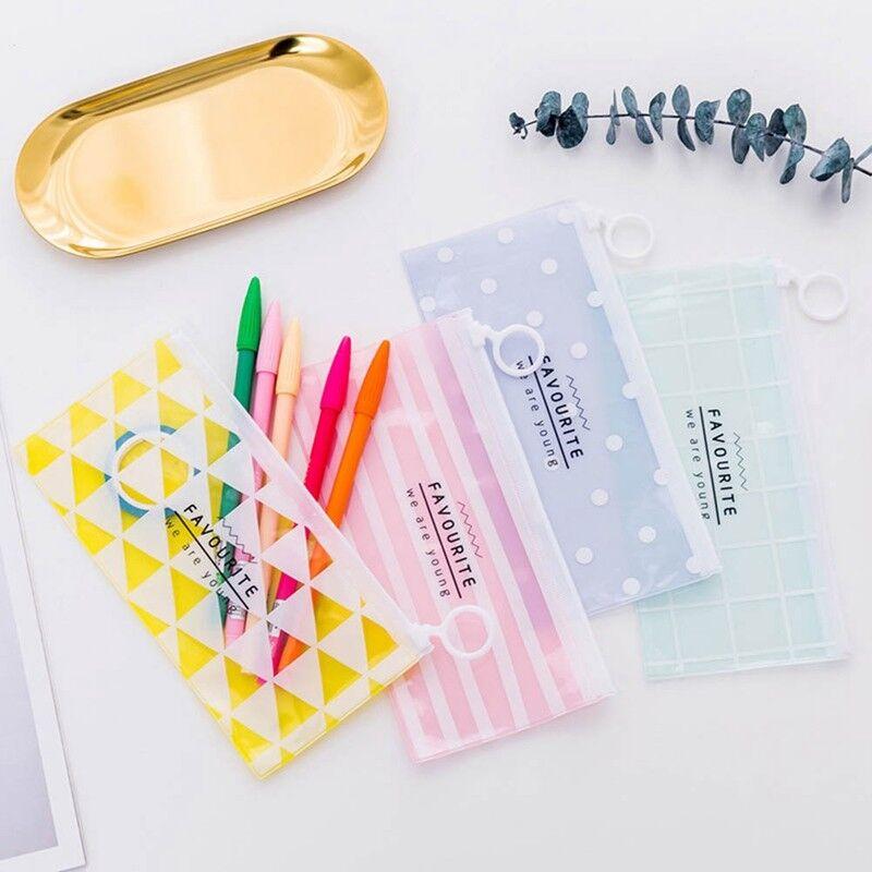 Transparent Sac Trousse Zipper Papeterie Cosmétiques Stockage Cadeau Enfants Bon 4