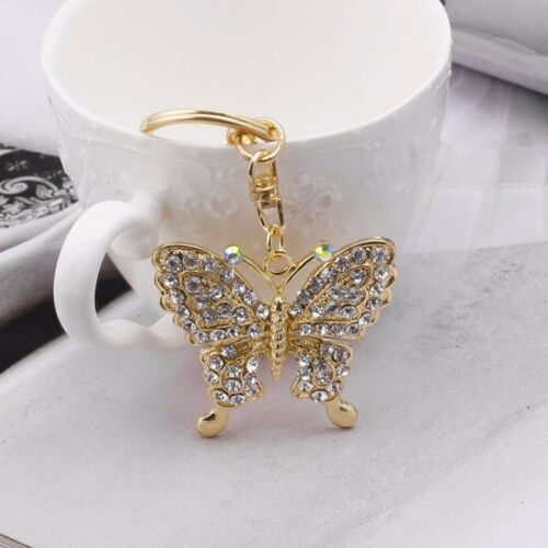 Women's Accessories Sweet Crystal Butterfly Keyring Keychain Key Chain Party Gift Charm Bag Purse Clothing, Shoes & Accessories