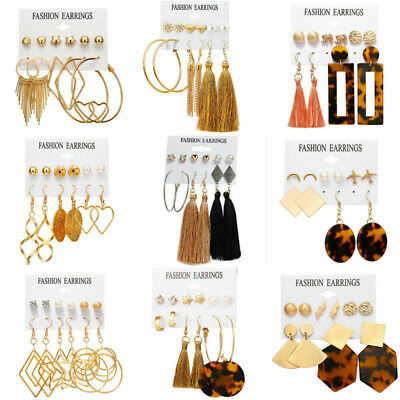 15Pairs Korean Style Earrings Set Tassel Crystal Ear Stud Dangle Hook Chic Women 3