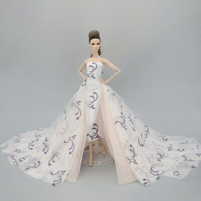 Colorful Floral High Fashion Doll Clothes for 1/6 Doll Wedding Dress Party Gown 5