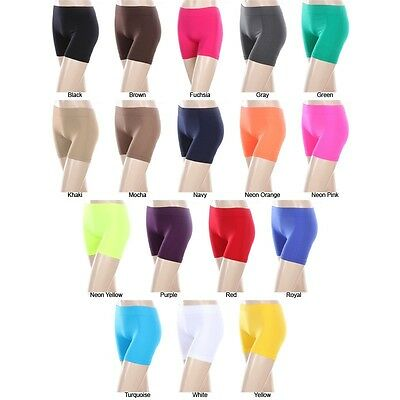 5eb6b3423f739c ... Seamless Basic Plain Solid Athletic Layering BIKER Shorts Leggings  Spandex 2