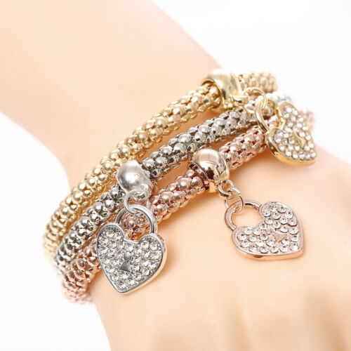 Fashion Women 3Pcs Gold Silver Rose Gold Bracelets Set Rhinestone Bangle Jewelry 3