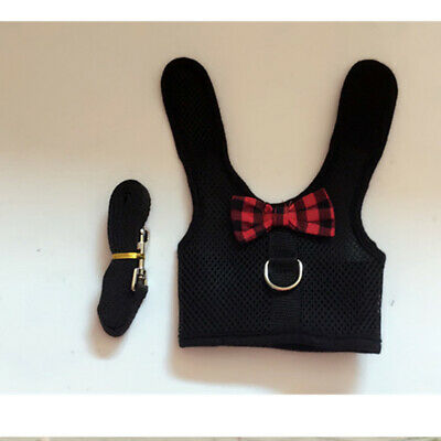 Large Black/Red Adjustable Soft Harness with Elastic Leash for Rabbit Bunny 5