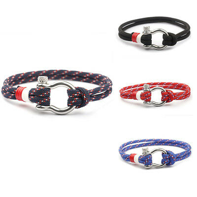 1PC Stainless Steel U Shaped Buckle Paracord Rope Women Men Gift Bracelet 2