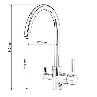 3-Wege Wasserhahn Modell Negro, Drei-Wege Wasserhahn, Osmose, Armatur, Küche 2