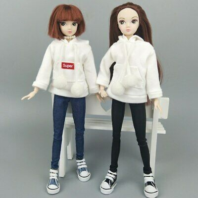 Pink Sweatshirt Doll Clothes Outfits Leather Pants Canvas Shoes For 1/6 Doll Toy 3
