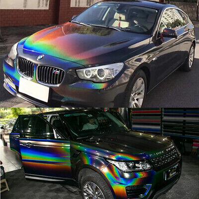Rainbow Laser Grey Chrome Car Vinyl Wrap Sticker Sheet Film Air Bubble Free DIY 2