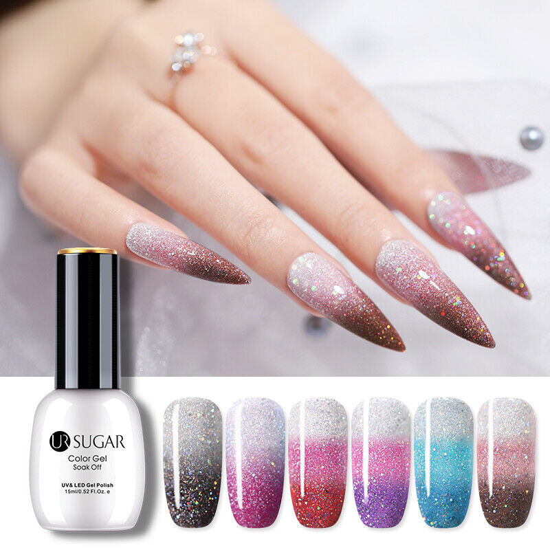 UR SUGAR 15ml Thermal Gel Polish 3-layers Glitter Soak Off UV Gel Nail Varnish 12