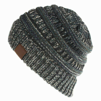 Women's Ponytail Beanie Ribbed Winter Messy Bun Cable Warm Soft Knit Hat AU 10