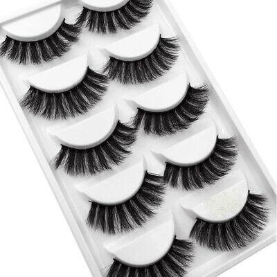 5Pair 3D Mink False Eyelashes Wispy Cross Long Thick Soft Fake Eye Lashes  UK 5