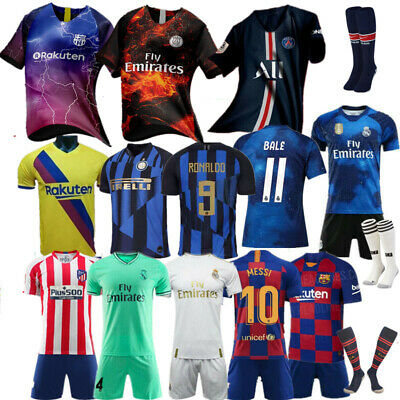 Custom Football Outfit Strips Youth Soccer Suits &Training Jerseys Kits For Kids 2