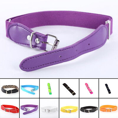 Toddler Candy Color Waist Belt Buckle PU Leather Kids Girls Boys Waistband Newly 12