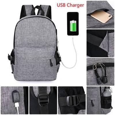 Anti-Theft Backpack USB Port Water Repellent Charging Travel Laptop School Bag H 4