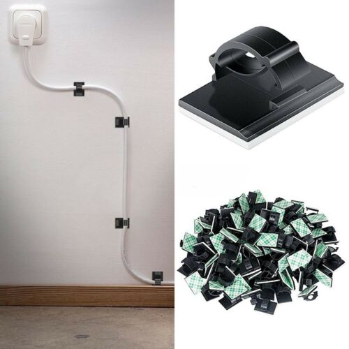 100Pcs Cable Clips Adhesive Cord Management Black Wire Holder Organizer Clamp US 3