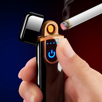 USB Electric Dual Arc Flameless Torch Rechargeable Windproof Cigarette Lighter H 3