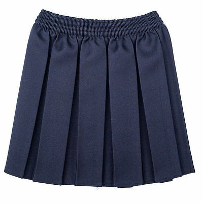 New Girls School  Box Pleated Elasticated Waist Skirt Kids School Uniform 6