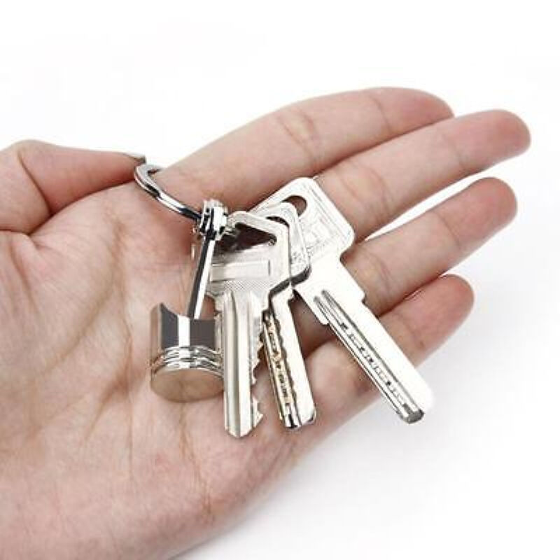 Metal Piston Car Keychain Keyfob Engine Fob Key Chain Ring keyring Silver New #W 4
