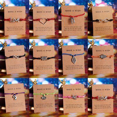 Handmade Heart Star Rope Bracelet Bangle Friendship Couple Card Jewelry Gift NEW 7