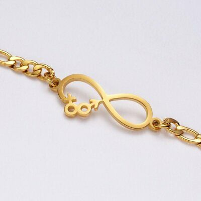 Women Gold Stainless Steel Love Heart Chain Cuff Bracelet Bangle Jewelry Gifts 11