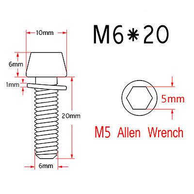 4 Pcs M5X25 Colorful Titanium Gr5 Allen Hex Tapered Head Aerospace Ti Bolt Screw