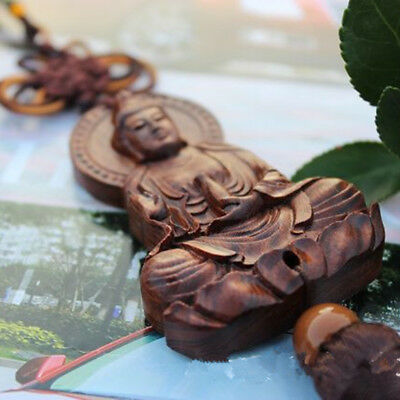 Jujube Wood Carving Red Chinese Kwan Yin Buddha Statue Sculpture Car Pendant