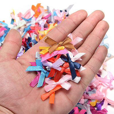 100pcs Mini Satin Ribbon Flowers Bows Gift DIY Craft Wedding Decoration 4