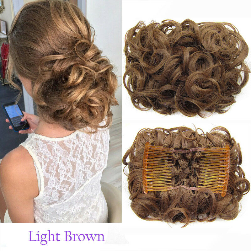 Curly Messy Bun Combs Chignon Scrunchie Updo Cover Hair Extensions